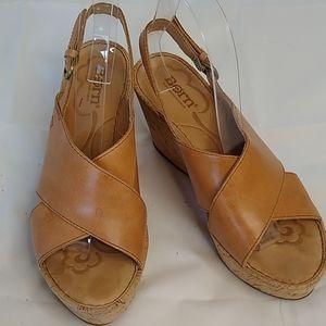 Born Cork Cross Cross Wedge Sandals